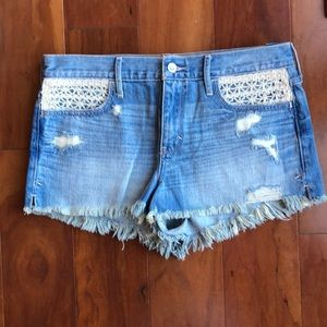 NWT HOLLISTER CROCHET DISTRESSED SHORTS, SIZE 29